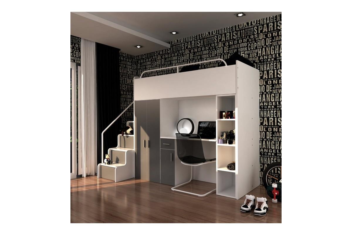Zestaw mebli do pokoju dziecięcego JENNY ze schodami grafitowy
