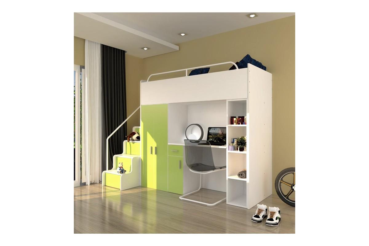 Zestaw mebli do pokoju dziecięcego JENNY ze schodami limonka