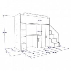 Schemat wymiarów łóżko piętrowe JENNY ze schodami Zestaw mebli do pokoju dziecięcego JENNY ze schodami niebieski