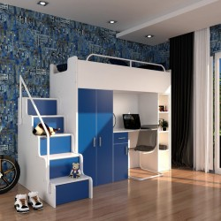 Zestaw mebli do pokoju dziecięcego JENNY ze schodami niebieski Zestaw mebli do pokoju dziecięcego JENNY ze schodami niebieski