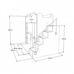 Schemat wymiarów łóżko piętrowe JENNY ze schodami Zestaw mebli do pokoju dziecięcego JENNY ze schodami turkusowy