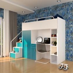Zestaw mebli do pokoju dziecięcego JENNY ze schodami turkusowy Zestaw mebli do pokoju dziecięcego JENNY ze schodami turkusowy