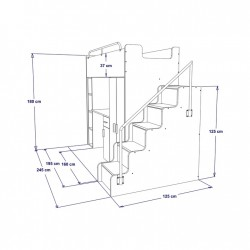 Schemat wymiarów łóżko piętrowe JENNY ze schodami Zestaw mebli do pokoju dziecięcego JENNY ze schodami żółty
