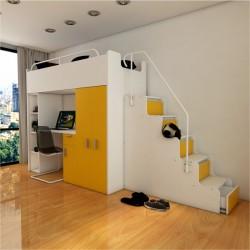 Zestaw mebli do pokoju dziecięcego JENNY ze schodami żółty Zestaw mebli do pokoju dziecięcego JENNY ze schodami żółty