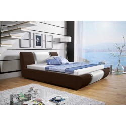 Łóżko tapicerowane MODENA Łóżko tapicerowane MODENA białe + biały pasek