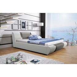 Łóżko tapicerowane MODENA białe + szary pasek Łóżko tapicerowane MODENA białe + biały pasek