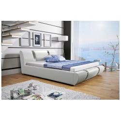 Łóżko tapicerowane MODENA białe + biały pasek