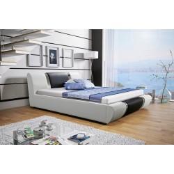 Łóżko tapicerowane MODENA  białe + czarny pasek Łóżko tapicerowane MODENA białe + biały pasek
