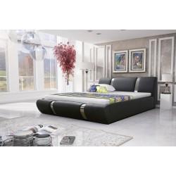 Łóżko tapicerowane MODENA czarne Łóżko tapicerowane MODENA białe + biały pasek