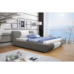 Łóżko tapicerowane MODENA szare + biały pasek Łóżko tapicerowane MODENA białe + biały pasek