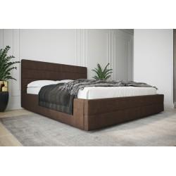 Łóżko tapicerowane  LARUSO z ozdobnym zagłowiem brąz