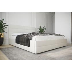 Łóżko tapicerowane  LARUSO z ozdobnym zagłowiem biała ecoskóra