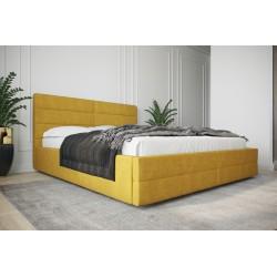 Łóżko tapicerowane  LARUSO z ozdobnym żółty
