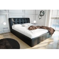 Łóżko tapicerowane LOREN czarna eco skóra