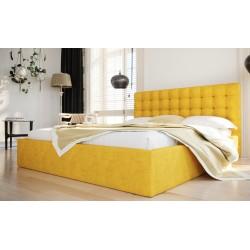 Łóżko tapicerowane SOFT żółty