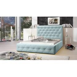 Łóżko tapicerowane MOON pastelowy niebieski Łóżko tapicerowane MOON żółty