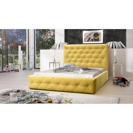 Łóżko tapicerowane MOON żółty