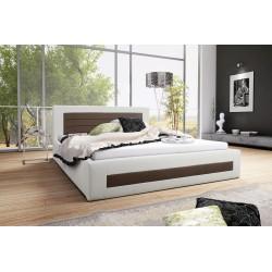 Łóżko tapicerowane LAURA biało-brązowy Łóżko tapicerowane LAURA biało-turkusowy