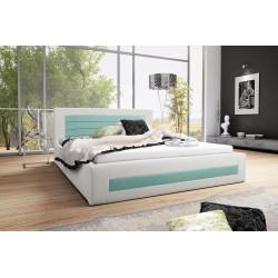 Łóżko tapicerowane LAURA biało-miętowy Łóżko tapicerowane LAURA biało-turkusowy