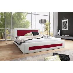 Łóżko tapicerowane LAURA biało-bordowy Łóżko tapicerowane LAURA biało-turkusowy