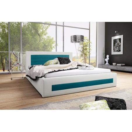 Łóżko tapicerowane LAURA biało-turkusowy
