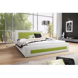 Łóżko tapicerowane LAURA biało-zielony Łóżko tapicerowane LAURA biało-turkusowy