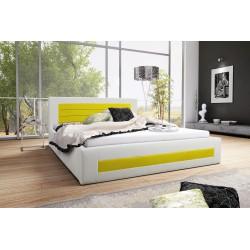 Łóżko tapicerowane LAURA biało-żółty Łóżko tapicerowane LAURA biało-turkusowy