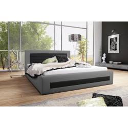 Łóżko tapicerowane LAURA szaro-czarny Łóżko tapicerowane LAURA biało-turkusowy