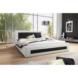 Łóżko tapicerowane LAURA biało-czarny Łóżko tapicerowane LAURA biało-turkusowy