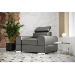 Fotel REY 114 cm szara skóra naturalna