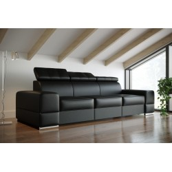 Sofa REY III czarna skóra naturalna