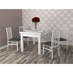 Stylowy zestaw do salonu jadalni ROSS X stół + 4 krzesła biały