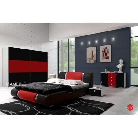 Sypialnia AGAT w kolorze czarno - czerwonym