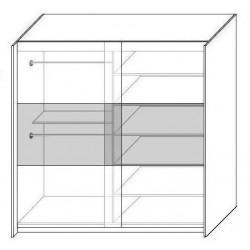 Wnętrze szafy w rozmiarze 150 cm lub 200 cm Sypialnia AGAT w kolorze czarno - czerwonym