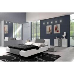 Sypialnia LUXURY w kolorze biało-szarym