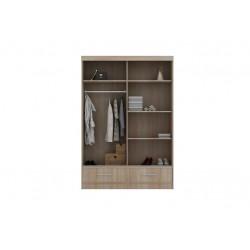 Wnętrze szafy w rozmiarze 150 cm Sypialnia LUXURY w kolorze biało-szarym