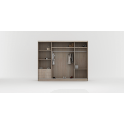 Wnętrze szafy w rozmiarze 250 cm Sypialnia ROYAL w kolorze biało-czarnym
