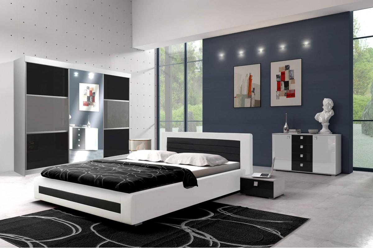 Sypialnia ROYAL w kolorze biało-czarnym