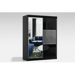 Szafa w rozmiarze 150 cm ( z korpusami koloru czarnego ) Sypialnia ROYAL w kolorze biało-czarnym