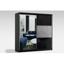 Szafa w rozmiarze 200 cm ( z korpusami koloru czarnego ) Sypialnia ROYAL w kolorze biało-czarnym