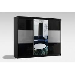 Szafa w rozmiarze 250 cm ( z korpusami koloru czarnego ) Sypialnia ROYAL w kolorze biało-czarnym
