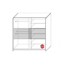 Wnętrze szafy o szerokości 150 cm oraz 200 cm Szafa AGAT szaro-czerwona