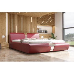 Łóżko tapicerowane SORI czerwona eco skóra Łóżko tapicerowane SORI białe