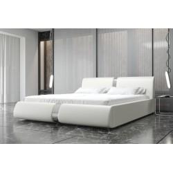Łóżko tapicerowane ROSIE biała eco skóra