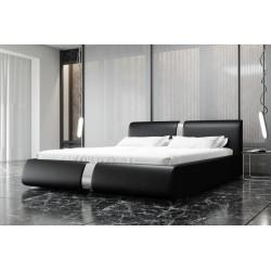 Łóżko tapicerowane ROSIE czarna eco skóra