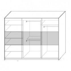 Wnętrze szafy w rozmiarze 240 cm lub 270 cm Sypialnia PERŁA szara