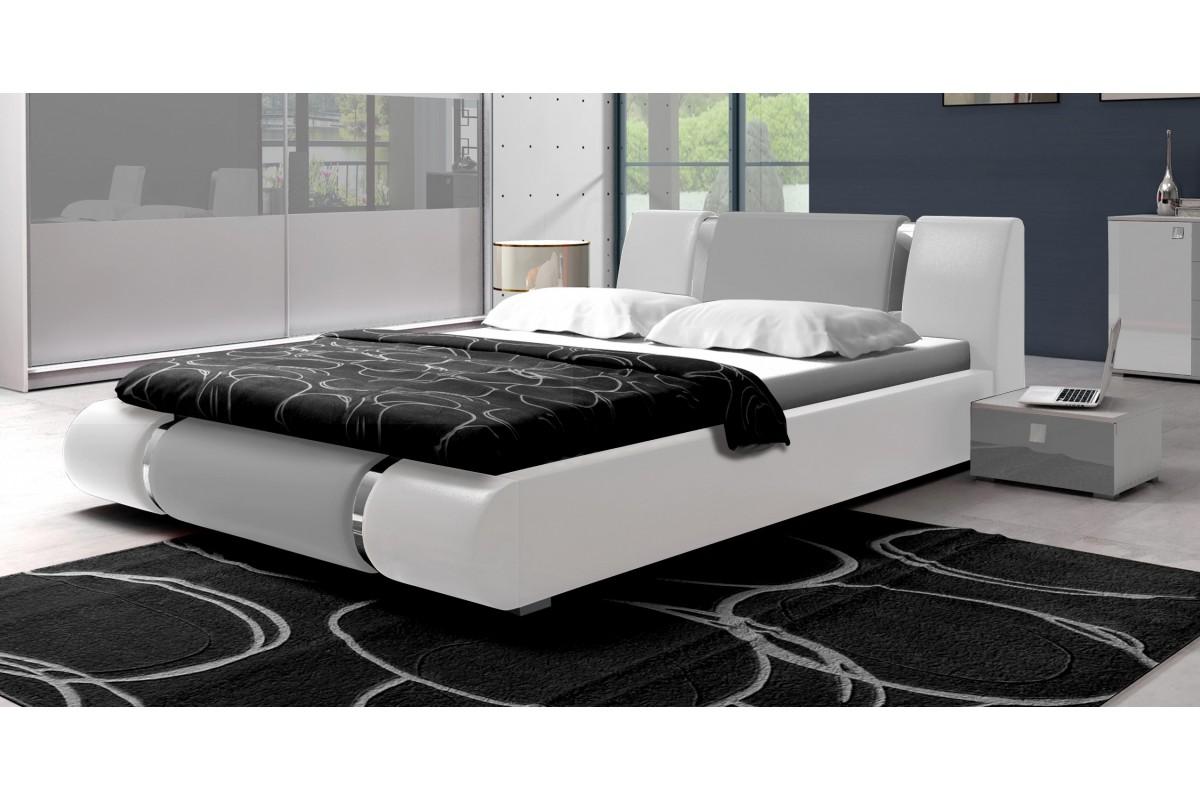 Łóżko LUXURY biało-szare