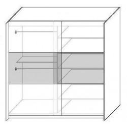 Wnętrze szafy o szerokości 150 cm oraz 200 cm Sypialnia RUBIN biało-szara