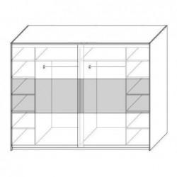 Wnętrze szafy o szerokości 240 cm Sypialnia RUBIN biało-szara