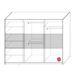Wnętrze szafy o szerokości 270 cm Sypialnia RUBIN biało-szara